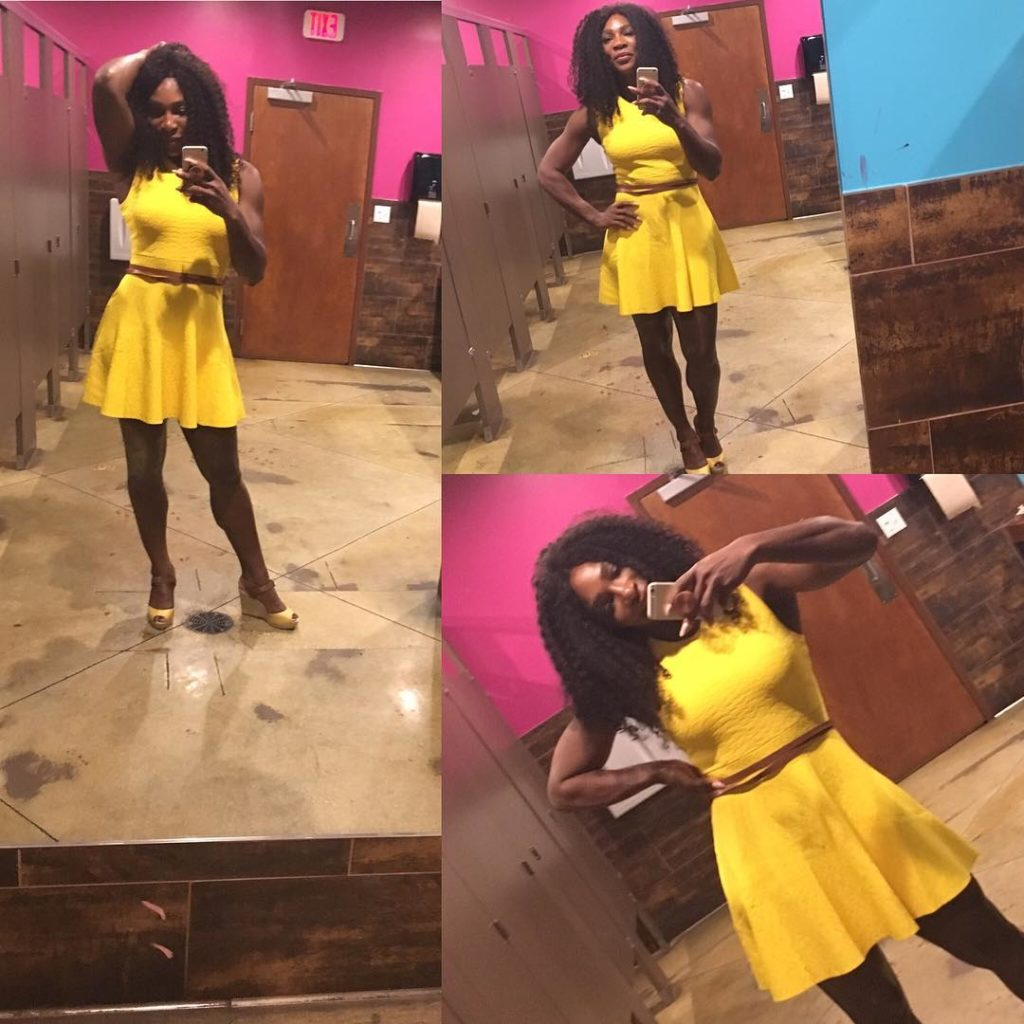 Serena Williams Super Sexy as she Rocks Eva longoria Yellow Dress