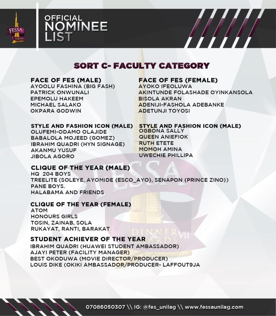 THE FES DINNER AND AWARDS 2016 :THE OFFICIAL NOMINEE LIST
