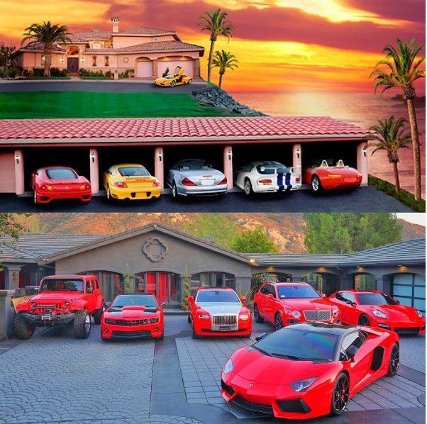 The Game shows off his 11 fleet of cars that included about 7 red fleet of cars,captioning it with an inspiring message