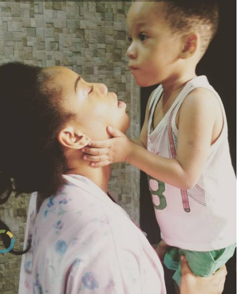 Toyin Lawani shares a Makeup Free adorable Photo with her Son