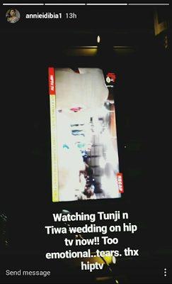 Annie Idibia Burst into Deep Tears after Watching A recap of Tiwa and Teebillz's White Wedding on Hip TV