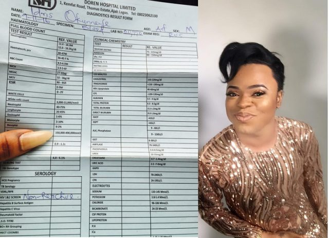 Bobrisky shows off his HIV negative result,says his richer than most of u cows