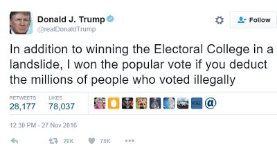 Donald Trump says millions voted illegally for Hillary Clinton and that he won the popular vote