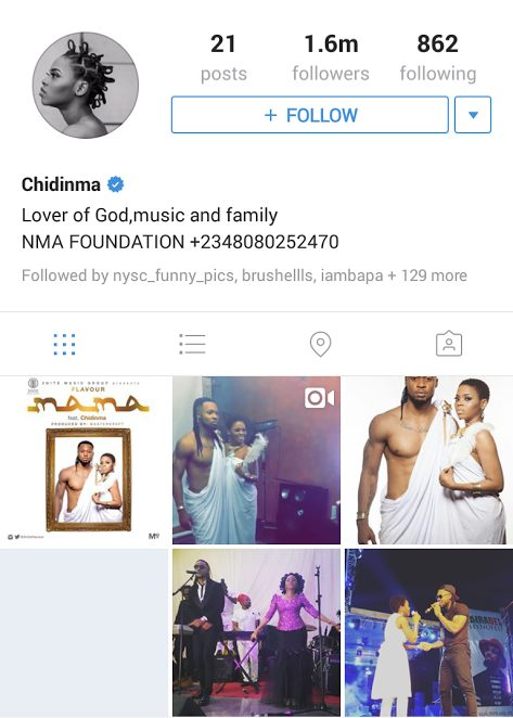 Chidinma Ekile Deletes all her instagram Photos and leaves just Photos she took with Flavour