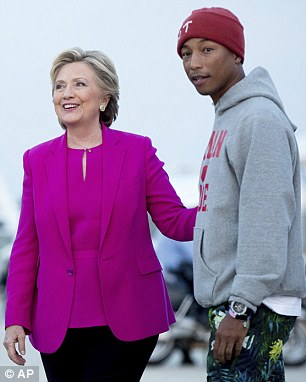Pharrell Williams Reaffirms his Support for 'dishonest' friend Hillary as he jets off with her North Carolina