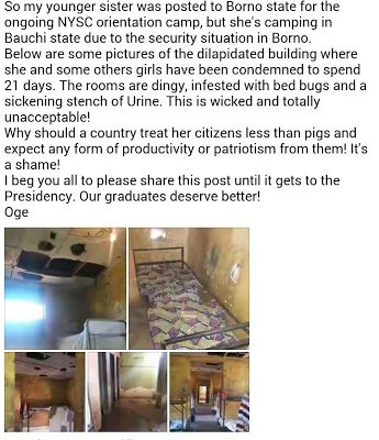 Photos of the dilapidated state of accommodation provided for NYSC members Batch 2 in Bauchi State