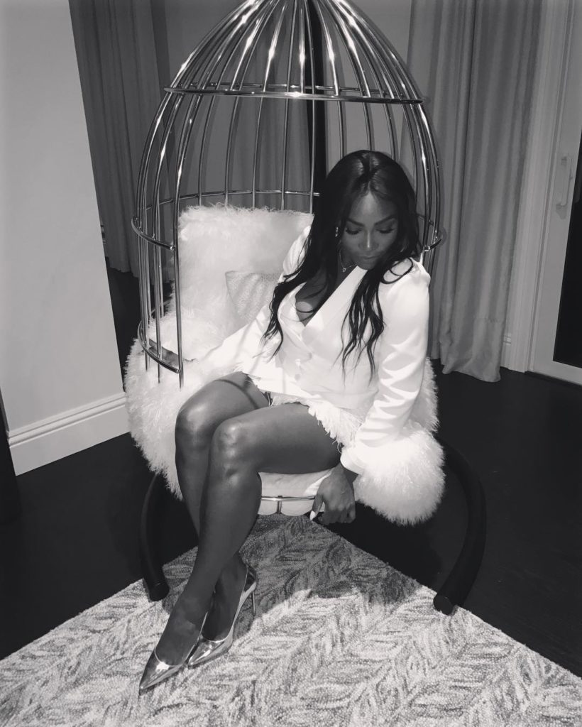 Serena Williams Sexy hot in White Suit and fur Mini Skirt, says some birds cant be caged