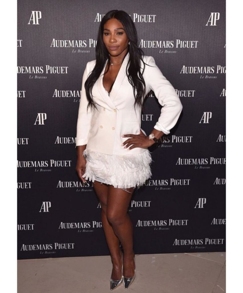 Serena Williams Sexy hot in White Suit and fur Mini Skirt