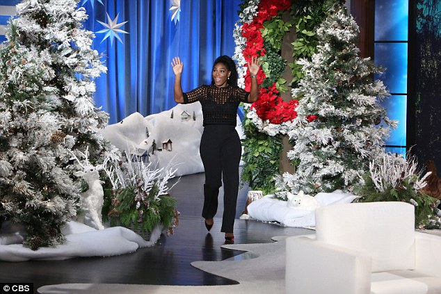 Serena Williams Sizzles in Blac Mesh Top on Ellen DeGeneres show, says she did date Justin Beiber over Idris Elba and Zack Efron