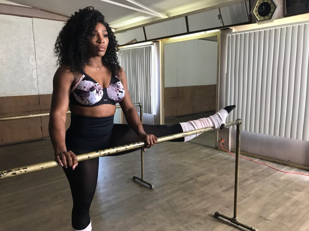 Serena Williams shows Off her Incredible toned Flexible Body in a Black and Purple Berlei Bra