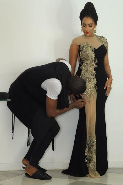 Juliet Ibrahim slays in a See-through Gold and Black Dress at the Lagos Fashion Awards 2016