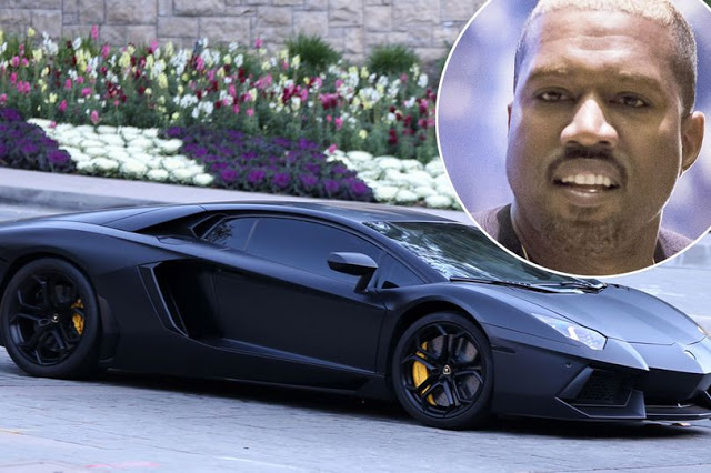 Kanye West Drives Out in his $750,000 all Black Lamborghini