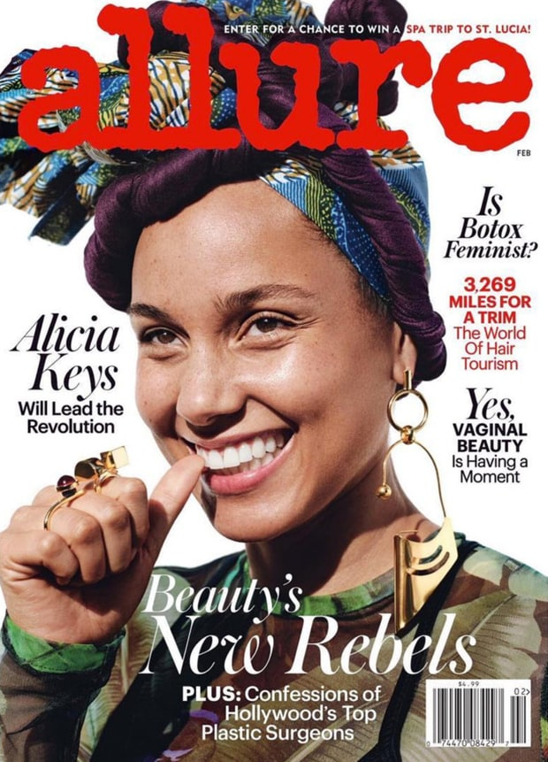 Alicia Keys Goes Makeup Free in Allure Magazine February Editorial Issue