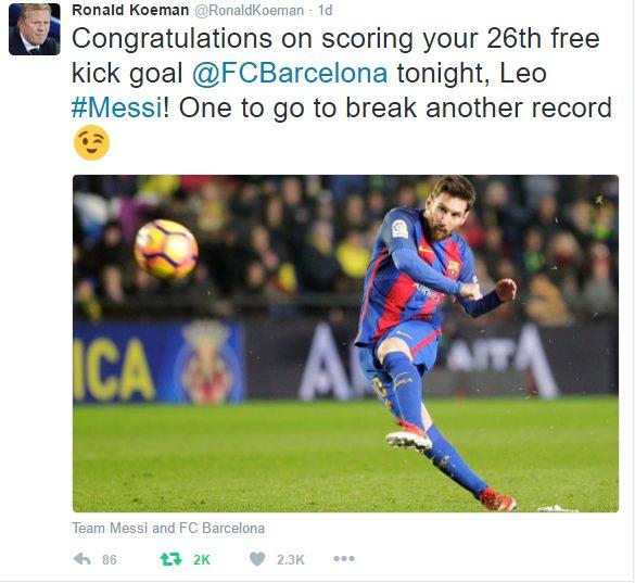 Ronald Koeman Congratulates Lionel Messi on scoring his 26th Barcelona career Free-kick
