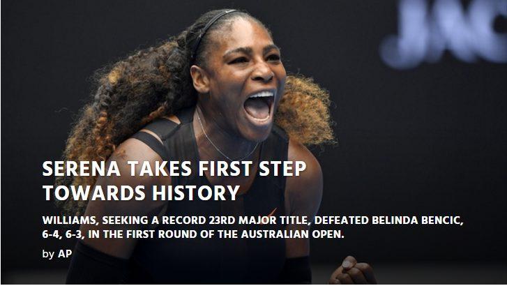 Serena Williams roller-coasters past Belinda Bencic 6-4, 6-3 at the Australian Open 2017