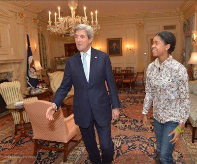 14 year old Nigerian-America filmmaker Zuriel Oduwole  meet with the  US Secretary of State, John Kerry