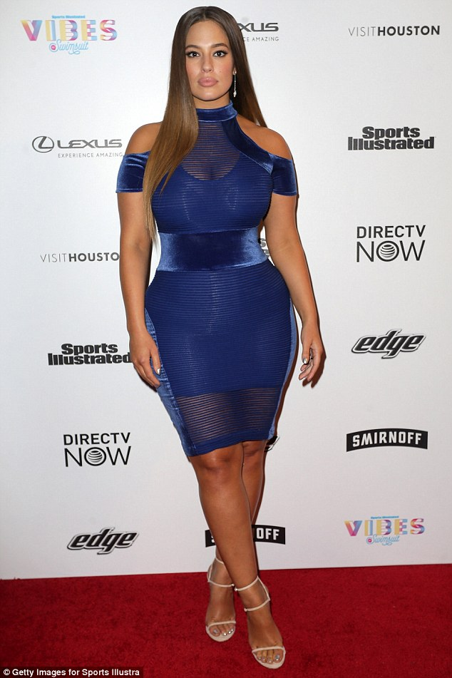 Ashley Graham Flaunts her curves in a Skintight Blue Dress For Sports Illustrated Event