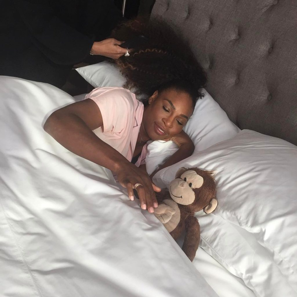Serena Williams shares Photo of her Chimp Max in Bed with Her