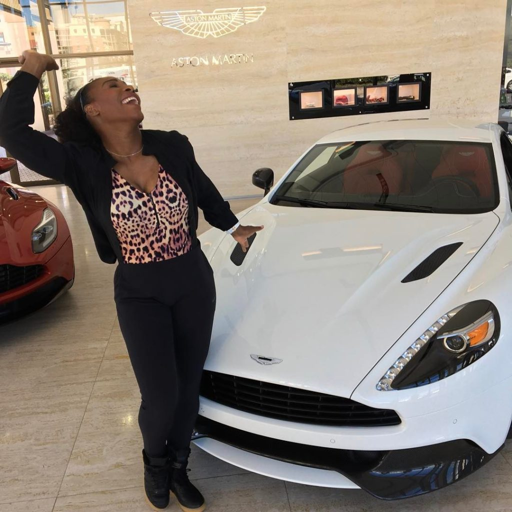 Serena Williams shows off her Salsa dance moves at Aston Martin showroom
