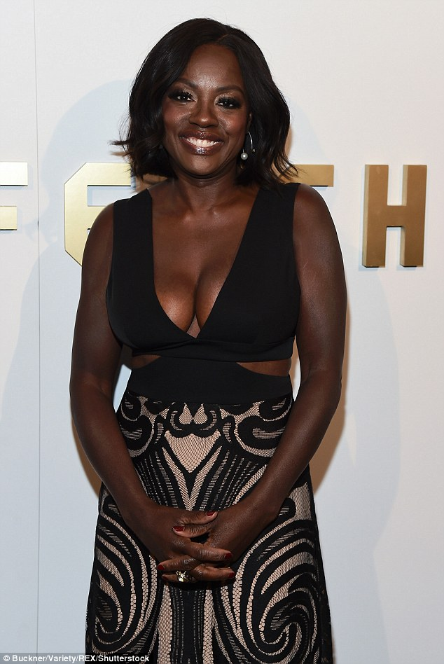 Viola Davis stunningly beautiful In Cut Out Dress showing off  Her Ample Bosom