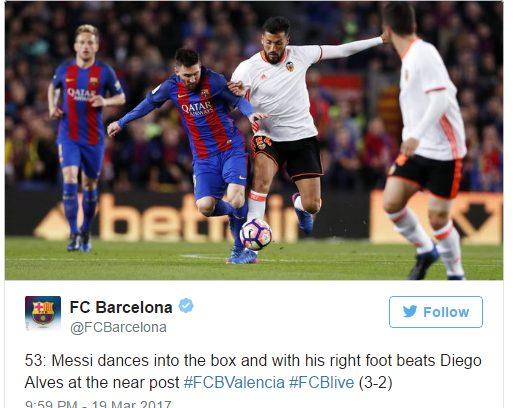 Lionel Messi Scores his 100th Brace, as Barca Sink Valencia 4-2 in La Liga