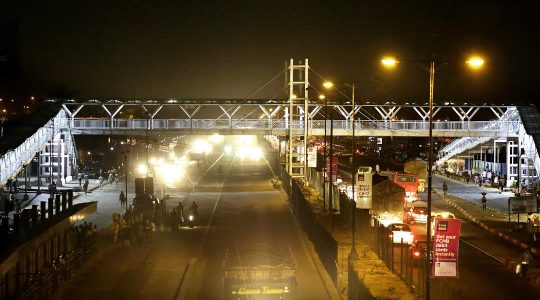 Night view Photos of the newly built State of the Art Pedestrian bridge at Ojota