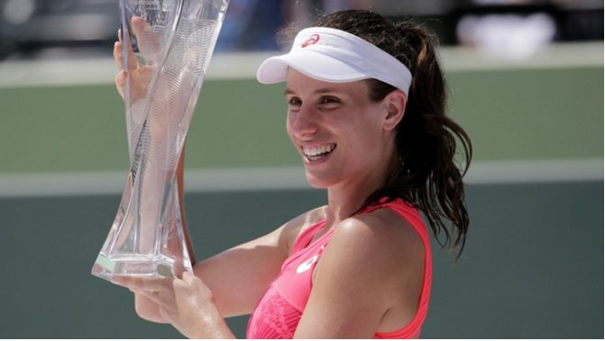 This is Johanna Konta's first WTA Premier Miami Open title, pushing her to world No. 7.