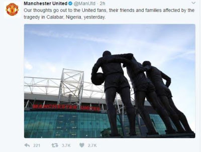 Manchester United FC pays tribute to 30 Nigerian fans that got electrocuted in Calabar