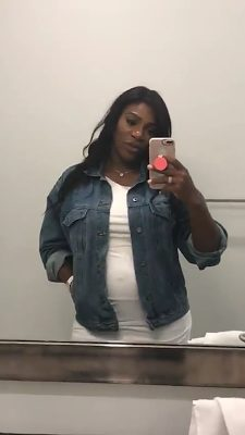 Serena Williams shows off her baby bump wearing a Sexy white gown and Blue Denim Jacket