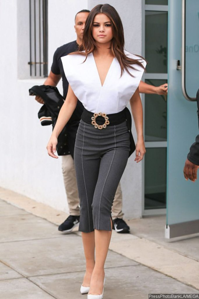 Selena Gomez Suffers Nip Slip in Plunging White Top