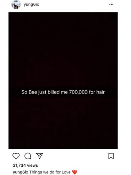 "#Yung6ix ""gives"" his girlfriend N700K for hair"