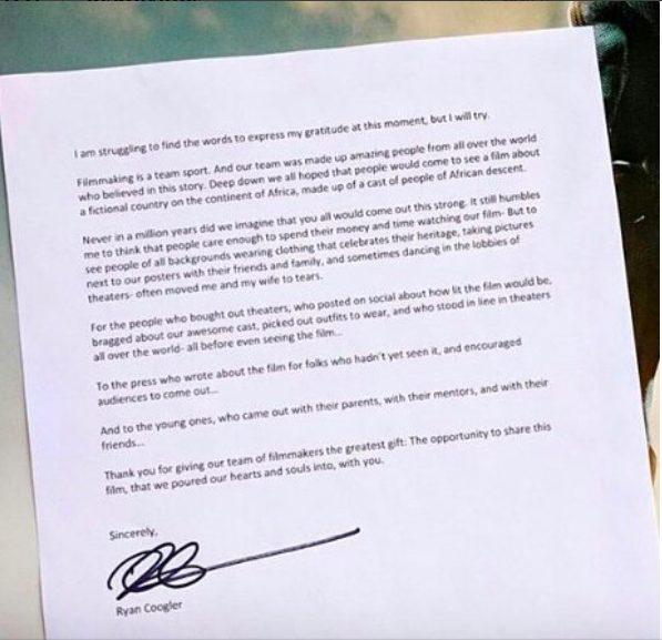 Black Panther director Ryan Coogler pens heartfelt letter to fans