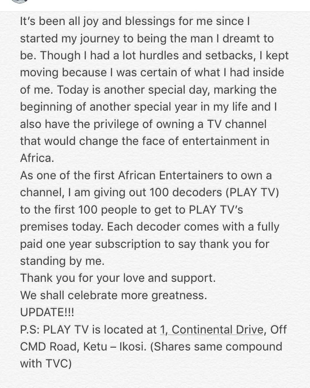 Olamide launches TV Channel Called Play TV