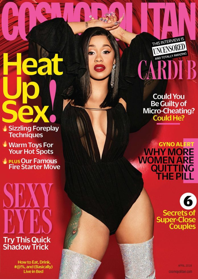 CardiB Slays On The Cover Of Cosmopolitan Magazine April Issue