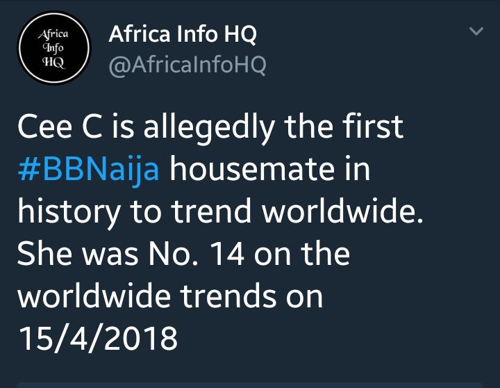 Cee-C Becomes The First BBNaija Housemate In History To Trend Worldwide