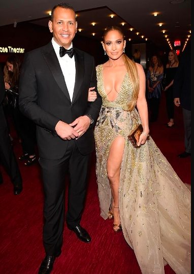 JLo steps out in deeply plunging gold dress for Time 100 Gala with beau Alex Rodriguez