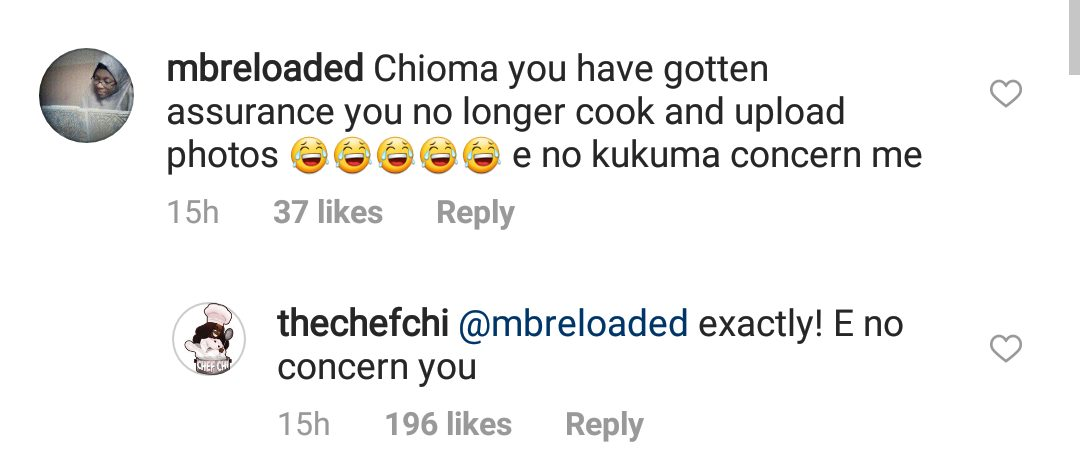 Davido's girlfriend Chioma fires back at IG user who says she's stopped cooking