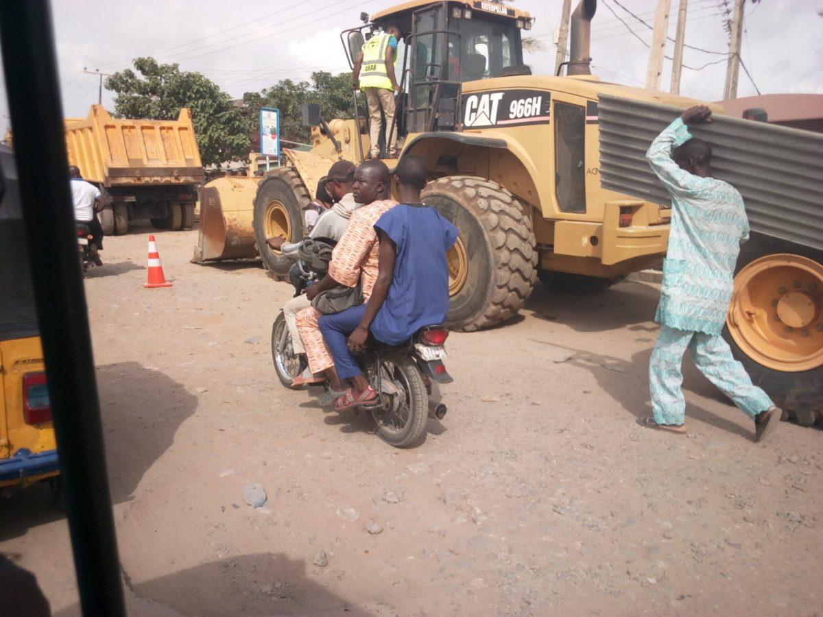 Tractors of Arab contractors along the ikorodu-shagamu road
