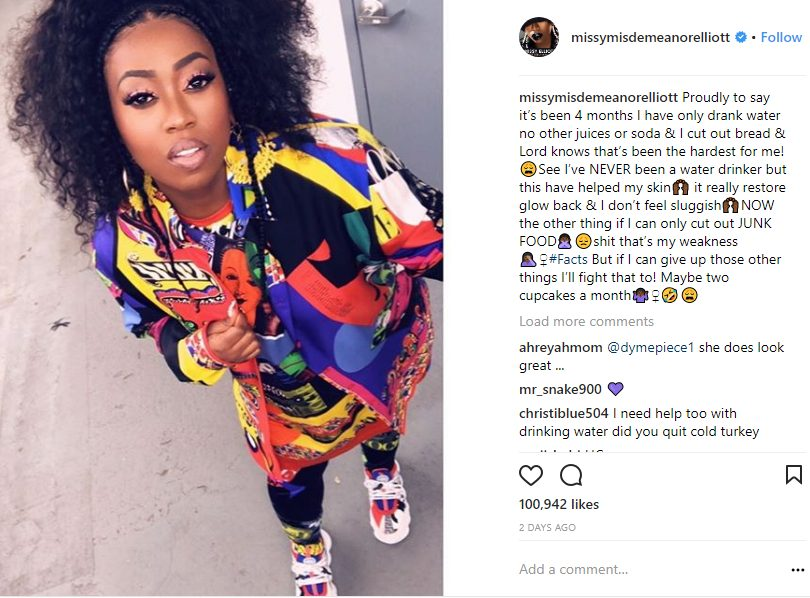 Missy Elliot glows after 4 months Of drinking only water