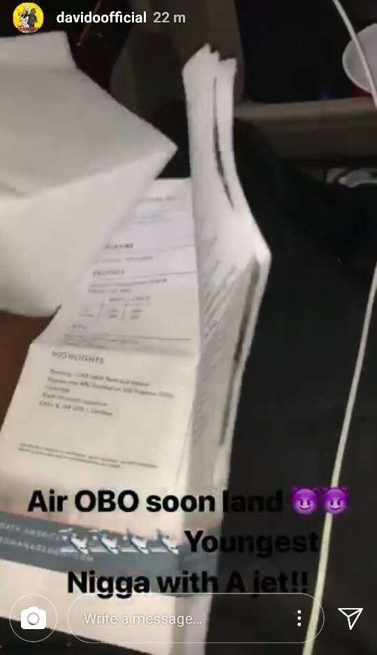Air OBO!! Davido buys his own Private Jet , Shares the document