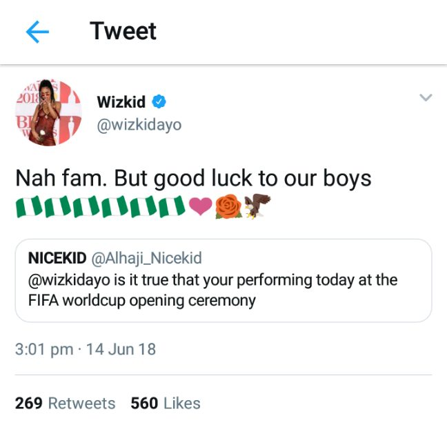 Wizkid Denies Being Billed To Perform At Opening Ceremony Of 2018 World Cup