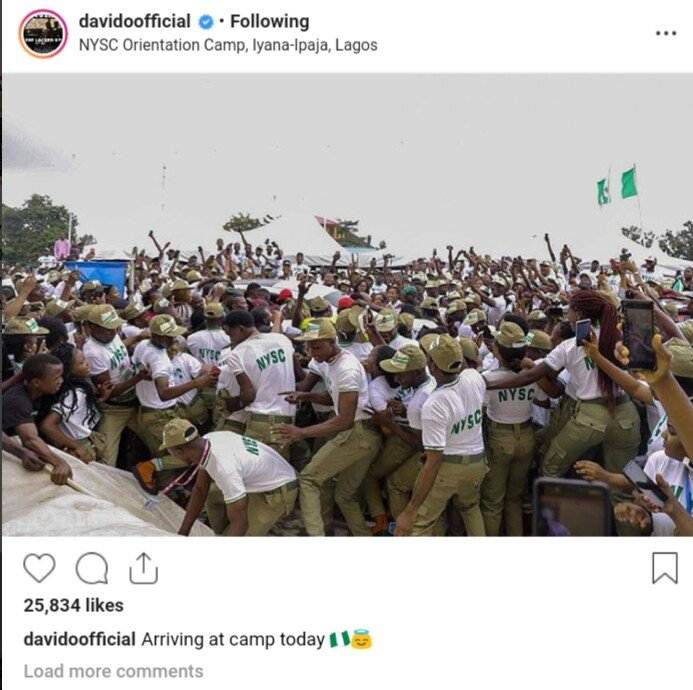 Photo of Davido Mobbed As He Arrived Camp By Fellow NYSC Corps Member