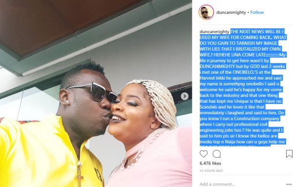 Alleged wife battery Duncan Mighty reacts to report lailasnews 1