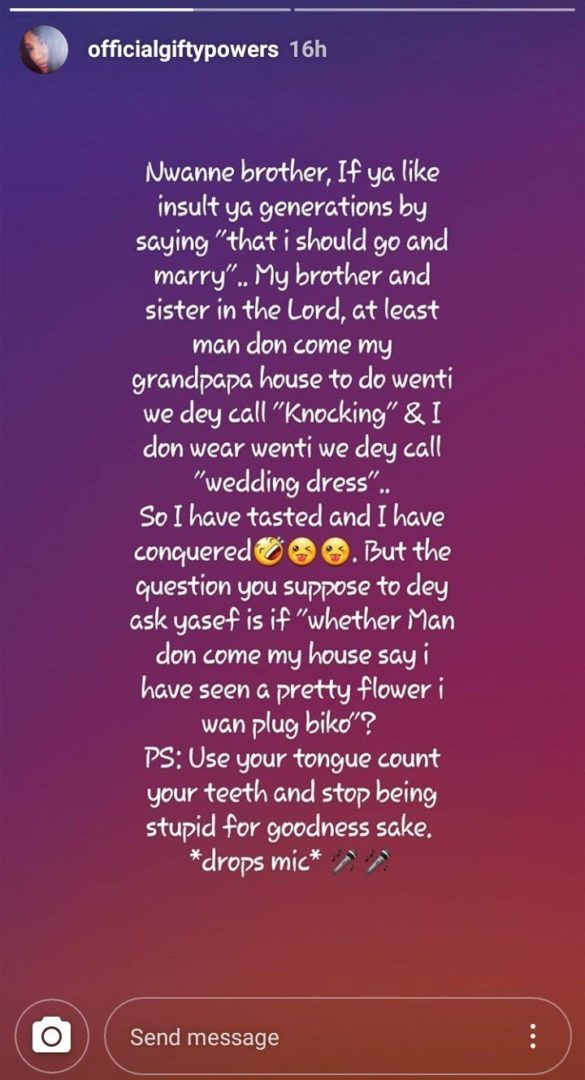 Gifty Powers slams social media trolls criticizing her for not being married