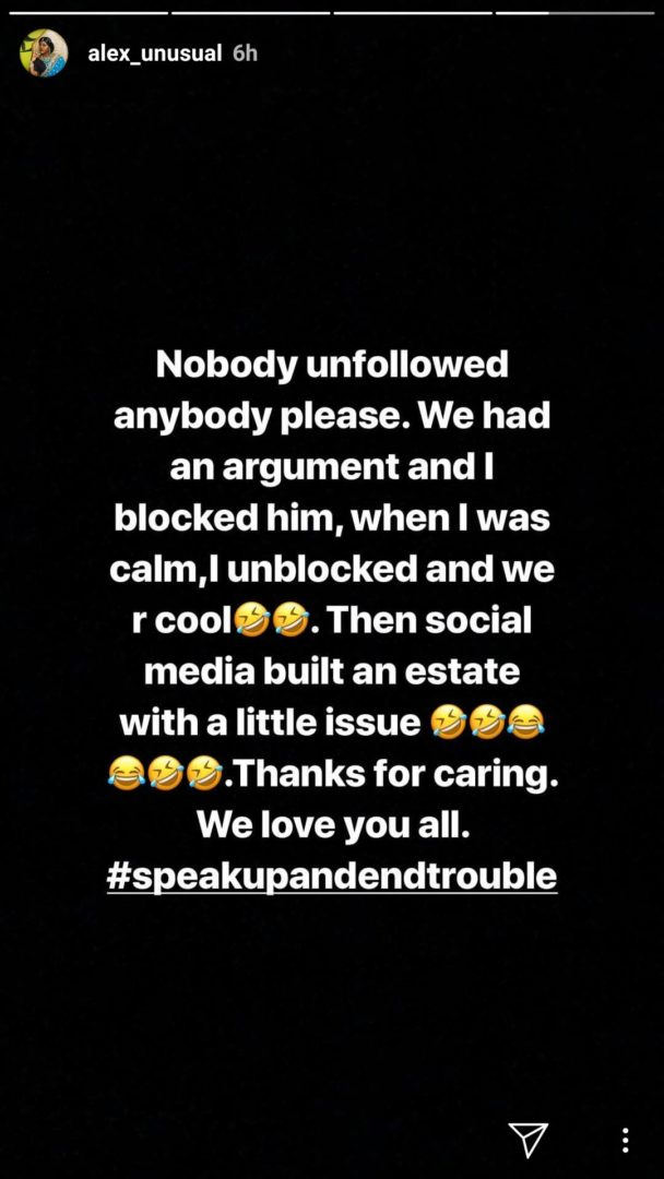 Alex reveals why Tobi unfollowed her on Instagram,revealed they had an argument