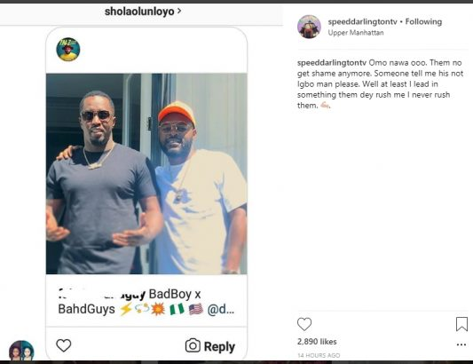 Speed Darlington shades Falz for meeting Diddy lailasnews 1