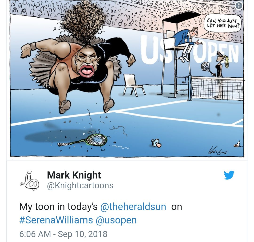 """Cartoonist dragged on social media for """"racist"""" drawing of Serena Williams"""