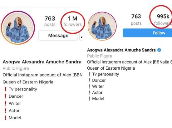Alex loses thousands of Instagram followers hours after hitting 1million lailasnews 1