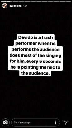 Davido is trash – Female Fan calls him out, claims he cheats on Chioma