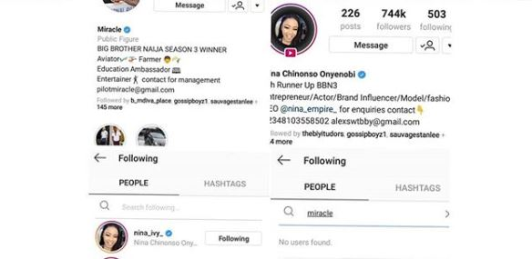 BBNaija: Nina Unfollows Miracle On Instagram, after he publicly dumped her
